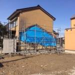 富山市で壁が繋がっている住宅解体後の外壁補修工事